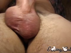 Huge balls jock loves wanking his cock solo until he cums
