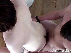 Cute young amateur sucks cock before being anally screwed