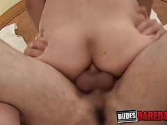Smooth blond bottom cums while barebacked by hung BF