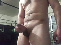 Jacking off cold garage