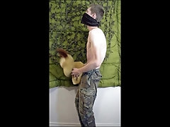 'Femboy Soldier Guy Fucking Plushie Hard Then Squirts on Own Stomach While Wearing Military Gear'