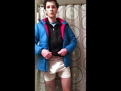 Gay teen strips, jerks off in Patagonia DAS Parka and fleece