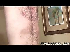 Teenage stepson deepthroats before hunk bareback