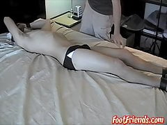 Handsome Scott restrained and stripped for severe tickling