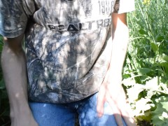'Hot White Farmers stepson Wanking & Cums Hard in stepdaddy's Field Outdoors On Hot Sunny Day!'
