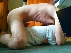 Boy hump a pillow on all four