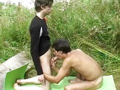 18 Year Old Twink and Older Guy Bareback Outdoors