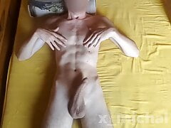 Hot 18yo twink with huge dick cums on his ABS