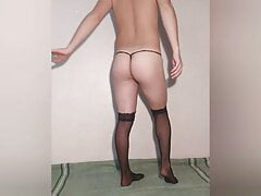 Russian gay loves to try on sexy lingerie and pose in it