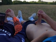 'Closeted Huge Dick Player Experiments With Twink During Practice In Public Park - Jerk Cumshot POV'